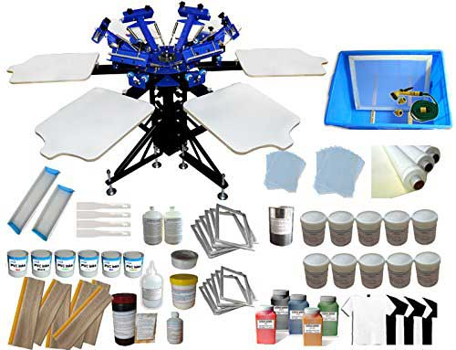6-6 Color automatic Screen Printing machine Kit with Materials 6 Color 6 Station Silk Screen printing Machine