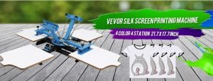 VEVOR Screen Printing Machine 4 Color 4 Station Silk Screen Printing Machine 17.7x21.7Inch Screen Printing Press for T-Shirt
