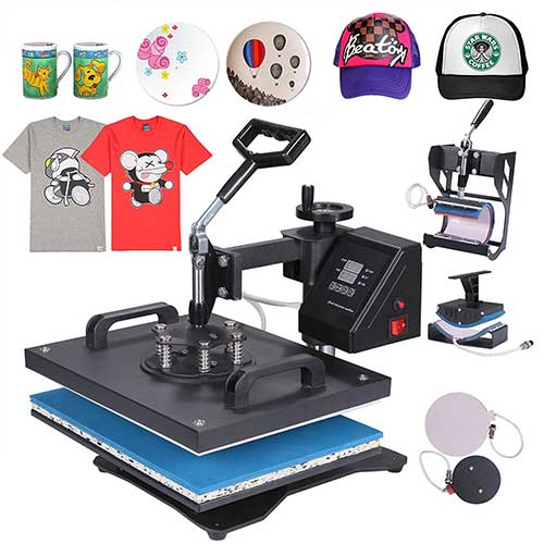 professional digital t-shirt making machine Mophorn Heat Presses 5 in 1 12x15 inch Heat Press Machine Vinyl Multifunction Sublimation Combo Heat Press Machine for T-Shirt Mug Hat Plate Digital Timer Control