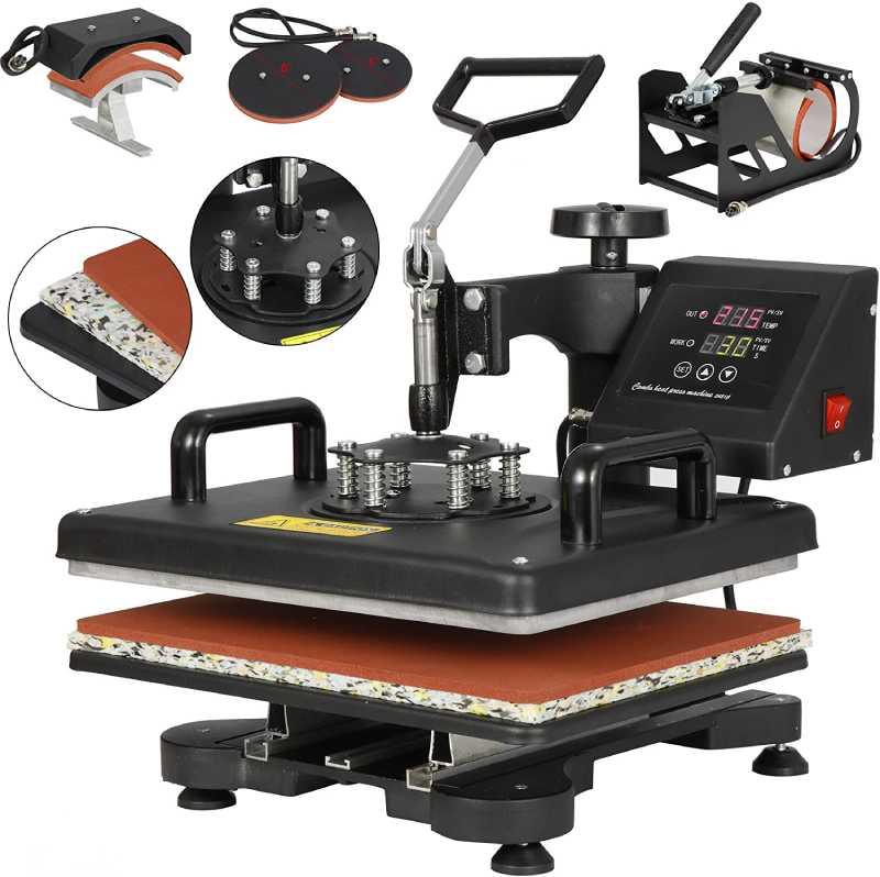 F2C Pro 5 in 1 Swing-Away Digital Transfer Sublimation Heat Press Machine Hat/Mug/Plate/Cap/T-Shirt Multifunction New Black (5 in 1 Swing Away)