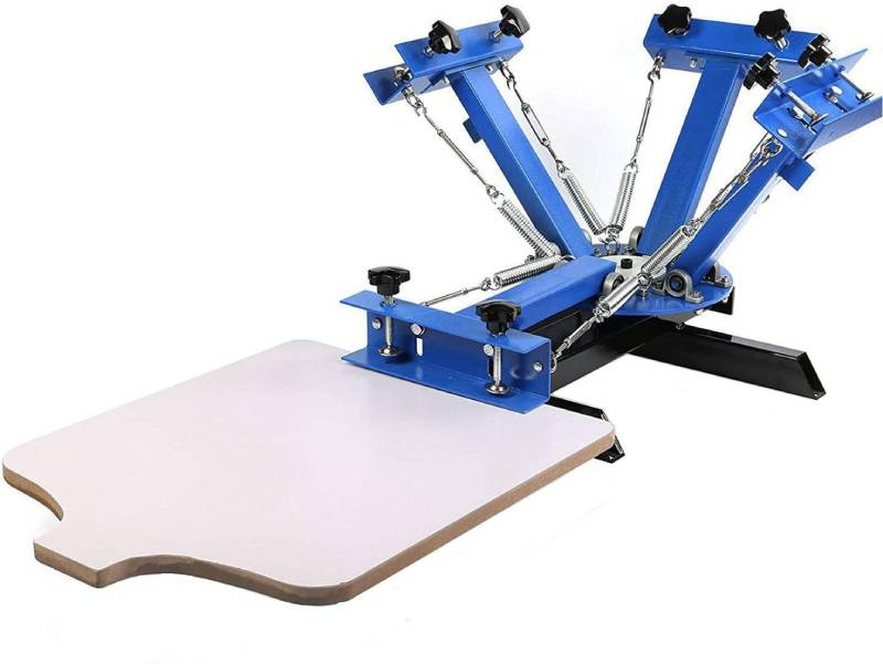 "SHZOND Screen Printing Press 4 Color 1 Station Silk Screen Printing Machine 21.7"" x 17.7"" Removable Pallet Screen Printing Machine Press for T-Shirt DIY Printing"