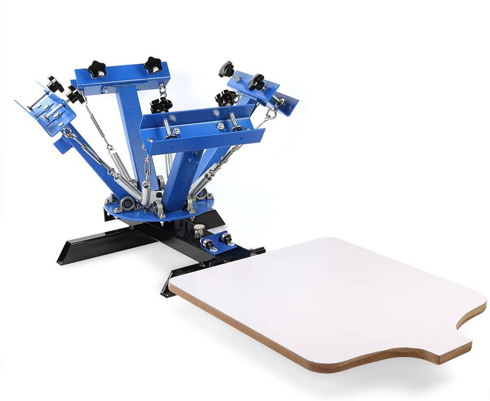 SmarketBuy Silk Screen Printing Machine 1 Station 4 Color Screen Printing for T-Shirt DIY (1 Station 4 Color)
